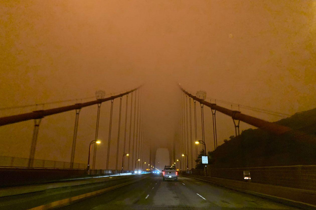 The Golden Gate Bridge blanketed in smoke..